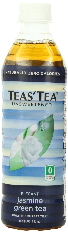 Teas' Tea, Unsweetened Jasmine Green Tea, 16.9 Ounce (jumbo pack of 48)