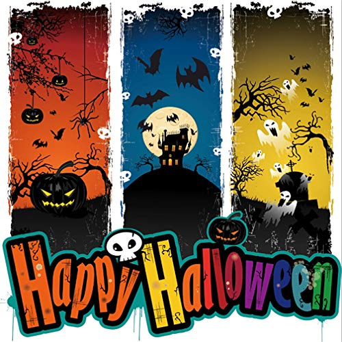 Leyiyi 5x5ft Gothic Happy Halloween Backdrop Pumpkin Lantern Gloomy Enchanted Forest Vintage Castle Full Moon Bare Tree Photography Background Scary Costume Carnival Photo Studio Prop Vinyl Wallpaper ()