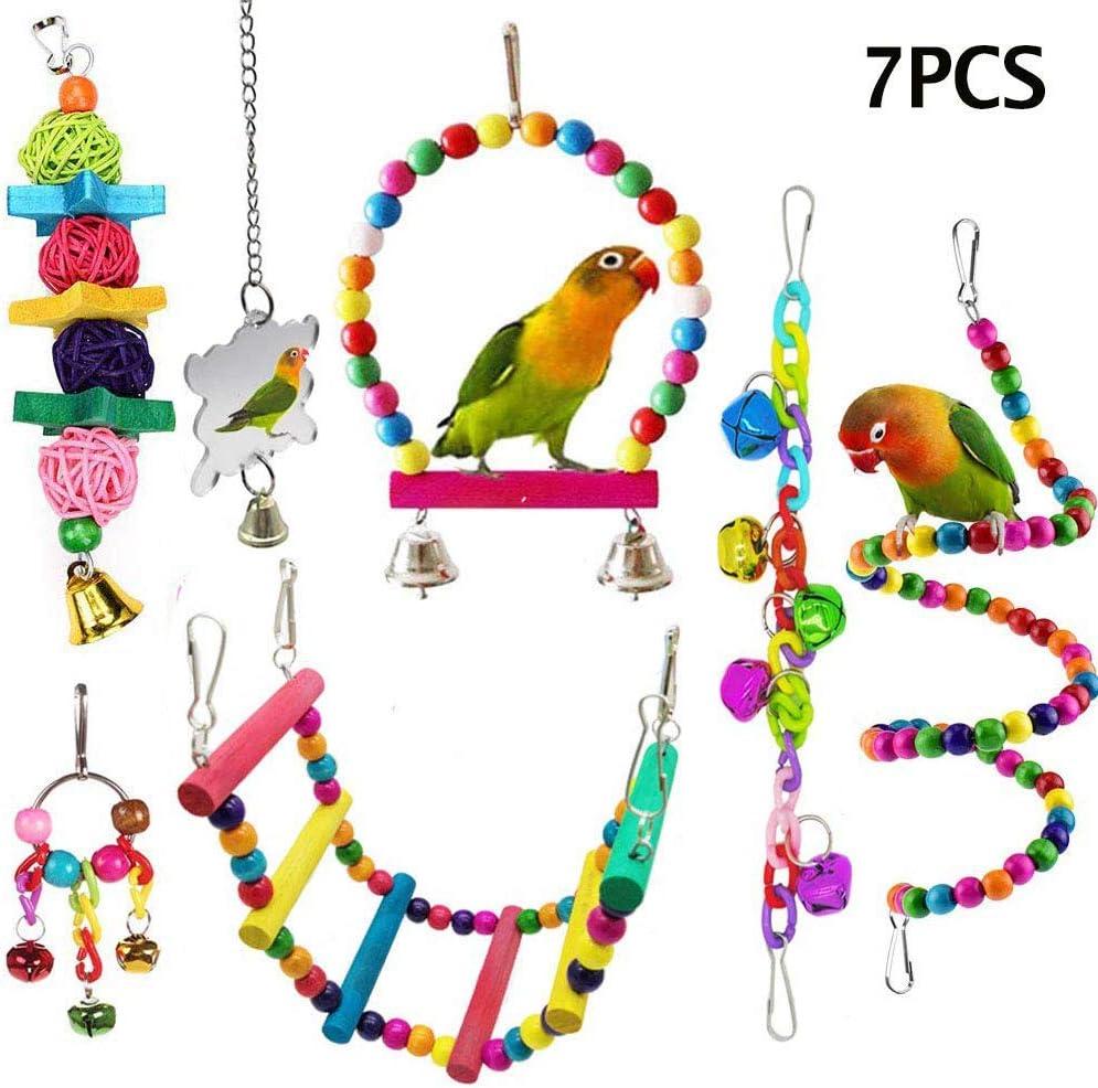 Kacniohen 7 Piezas de Aves Loro Colorido Juguetes para Mascotas Jaula de pájaro Hamaca Columpio de Juguete Colgante de Madera Escala del Soporte del pájaro del oscilación de mascar Juguetes para