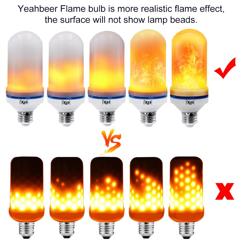 [Upgrade] Yeahbeer LED Flame Effect Light Bulb, Simulated Decorative Christmas Lights Atmosphere Lighting Fire Bulbs Vintage Emulation Flaming for Bar/Festival Decoration (2 Pack) by YEAHBEER (Image #2)