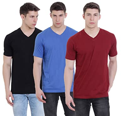 9f805ffc985a FAB69 Solid Men s V Neck Half Sleeve Cotton Plain Palace Blue Ruby Wine  Maroon Black T-Shirt (Combo Pack of 3) - Leather Patch - Bottom Hem   Amazon.in  ...