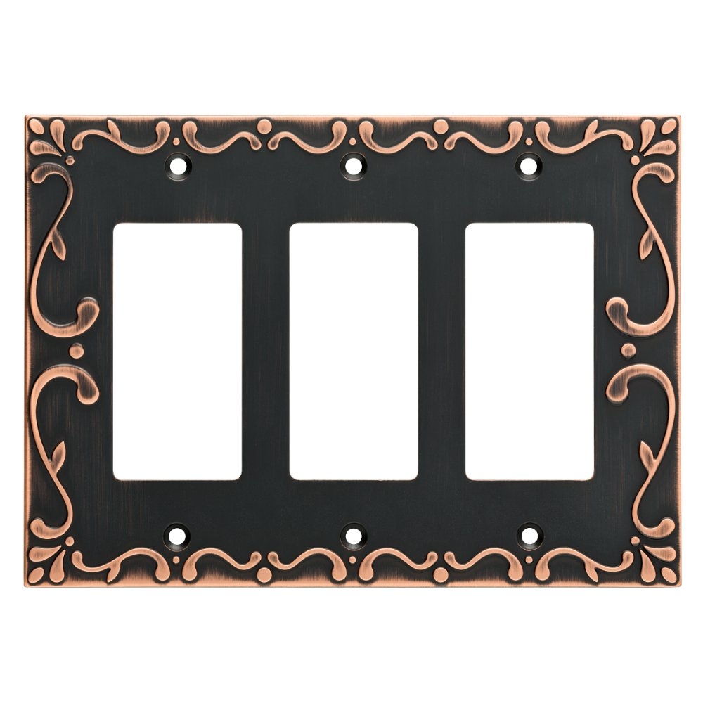 Franklin Brass W35079-VBC-C Classic Lace Triple Decorator Wall Plate/Switch Plate/Cover with Copper Highlights, Bronze
