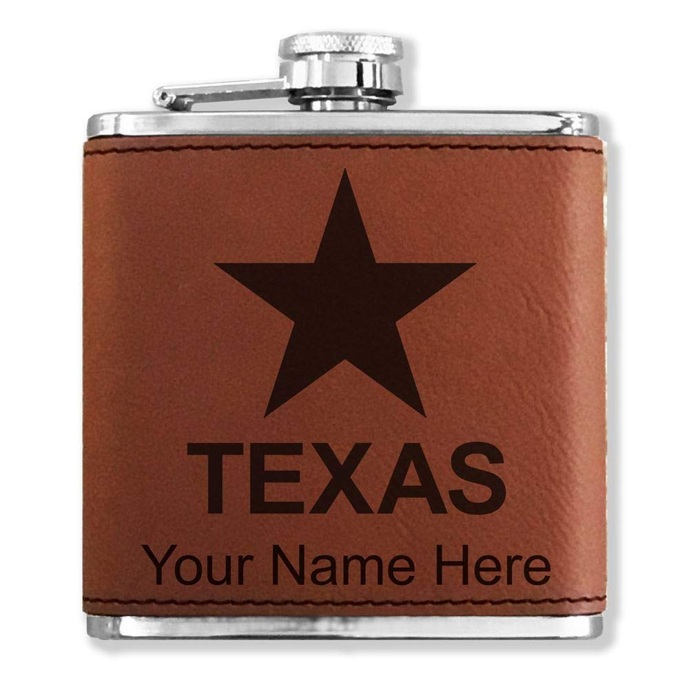 高価値 フェイクレザーフラスコ – – B013L75ACQ Flag of Texas – カスタマイズ彫刻Included – (ダークブラウン) B013L75ACQ, 【新作からSALEアイテム等お得な商品満載】:232cbaca --- trademark.officeporto.com
