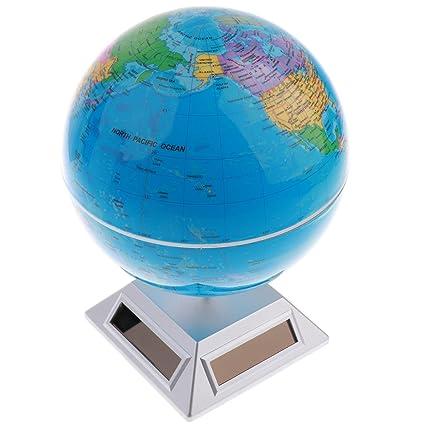 baoblaze 5514cm solar powered rotating globe detailed world map