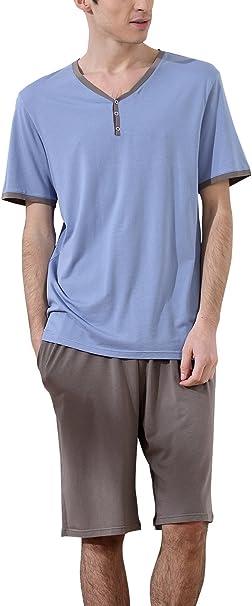 Dolamen Pijamas para Hombre, Pijamas Hombre Primavera Verano, Hombre Camisones Deportes Corta, 100% Algodón Suave y cálido Manga Corta y Pantalones Cortos: Amazon.es: Ropa y accesorios