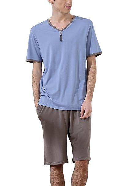 Dolamen Pijamas para Hombre, Pijamas Hombre Primavera Verano, Hombre Camisones Deportes Corta, 100