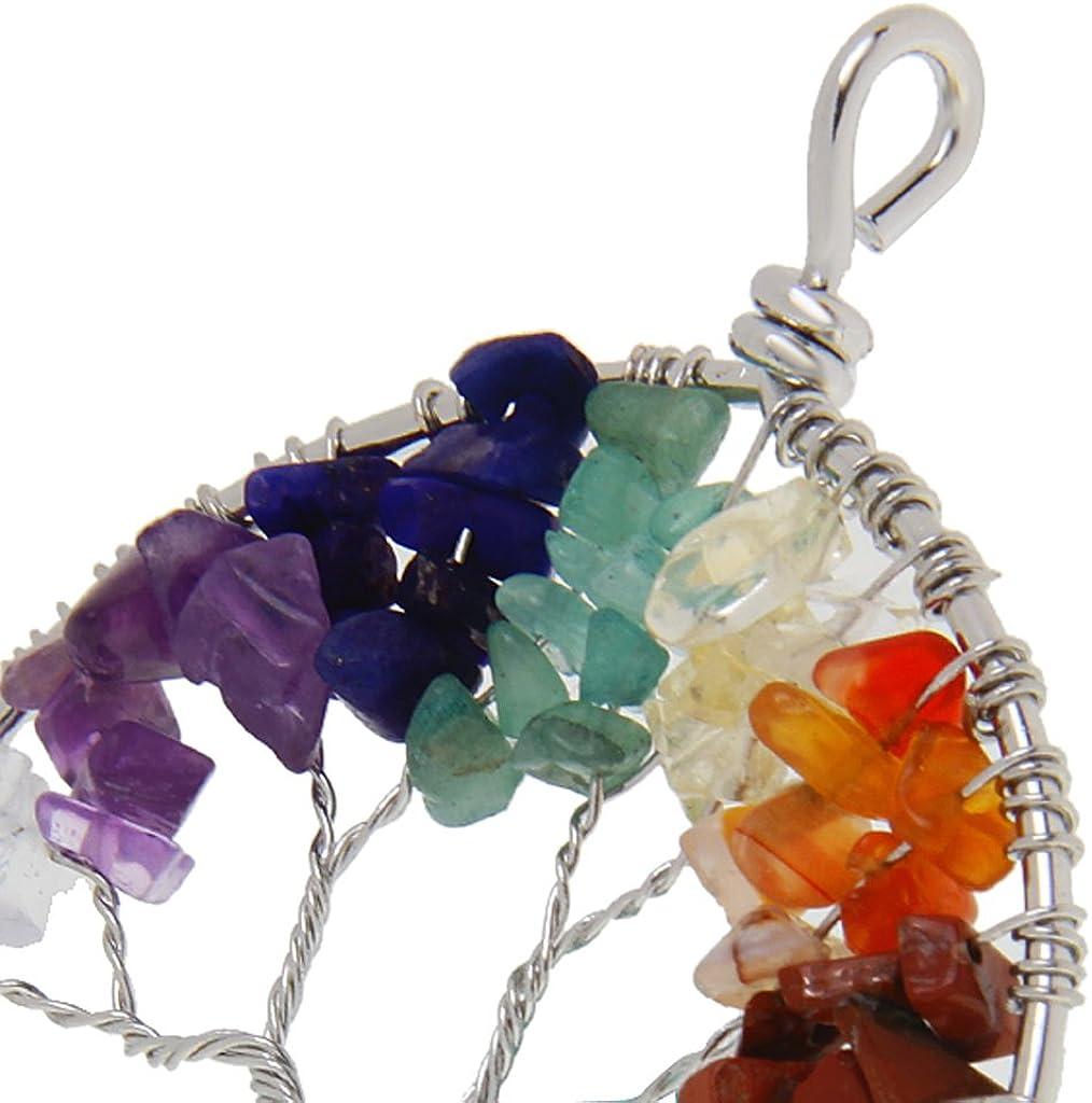 LoveinDIY Amethyst Peridot Rose Rock Quartz Stone Wire Wrap Gemstone Tree of Life Pendant