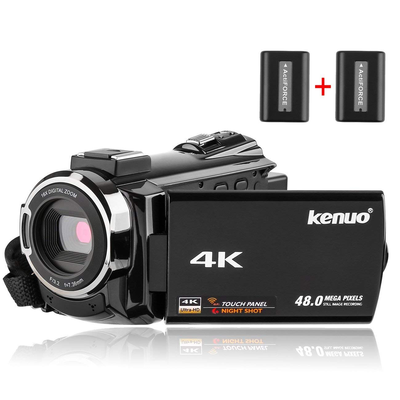 Video Camera Camcorder 4K Kenuo Ultra HD 60FPS Digital WiFi Camera, 48.0MP 3.0 inch Touch Screen, IR Night Vision, 16X Digital Zoom, with External Microphone and Wide Angle Lens, 2 Batteries ShenZhenShiMeiErJiaKeJiYouXianGongSi 524K