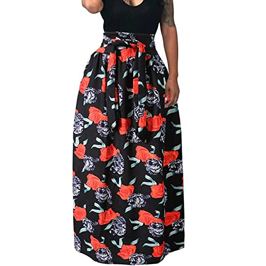 db50396e02 Amazon.com: Womens Billowing Skirts Vintage African National Style Print  High Waist Swing Maxi Skirt Plus Size: Clothing