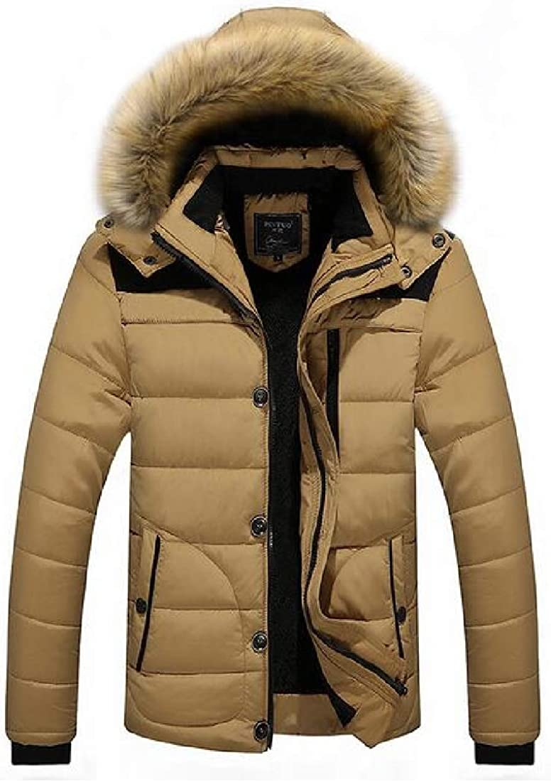 Fubotevic Men Fleece Lined Warm Faux Fur Hooded Winter Down Quilted Coat Jacket Outwear