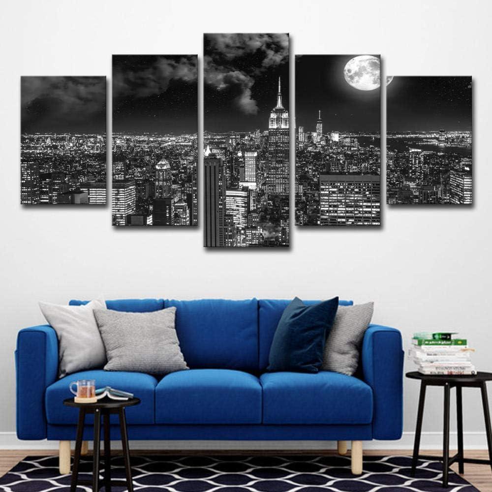 Fbhfbh Cuadro En Lienzo 5 Piezas Surrealista Ciudad Noche Brillante Paisaje Moderno Arte De La Pared Decoración- 16X24/32/40Inch,With Frame