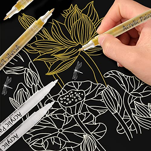 Paint Pens Gold Silver White, 6 Pack Acrylic Paint Markers Set for Wood Rock Plastic Leather Glass Metal Canvas Ceramic DIY Crafts Making, 0.7mm Medium Tip Water-based Acrylic Markers Sets (3 Colors)