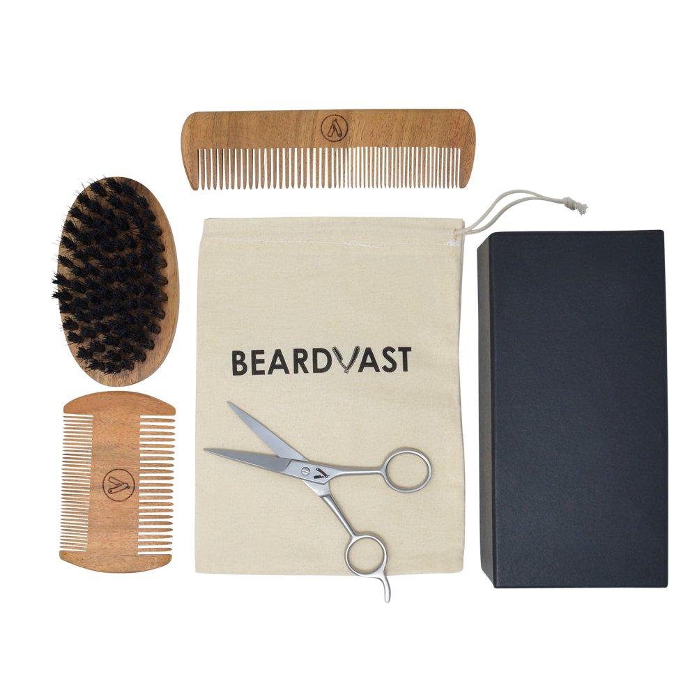 Beard Brush & Beard Comb Grooming Beard Kit for Men with Barber Scissors,2 Edge Handmade Beard Comb, Long Beard Comb, Beard Brush w/Synthetic Bristles, Cotton Carry Pouch in a Gift Box for styling
