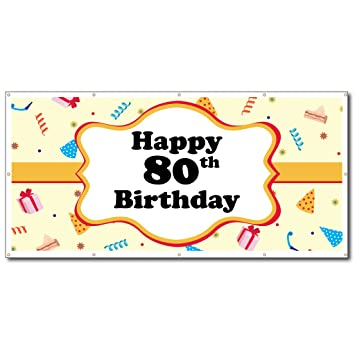VictoryStore Happy Birthday Banners 80th Party Hats Vinyl Banner Size 2