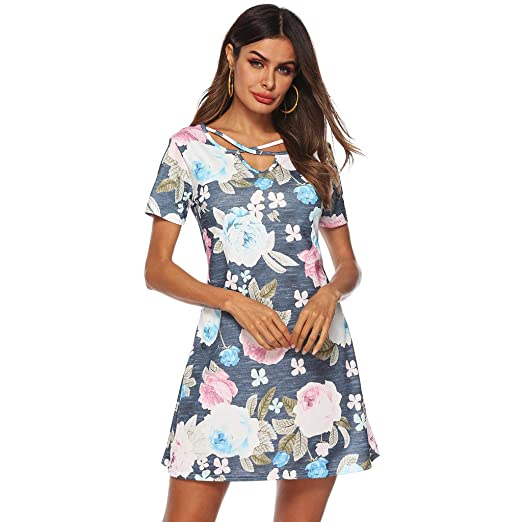 216623f18a61 Image Unavailable. Image not available for. Color: Simayixx Maxi Dress Short  Sleeve V Neck Floral Flowy Front Slit High Low Women Summer Hawaiian