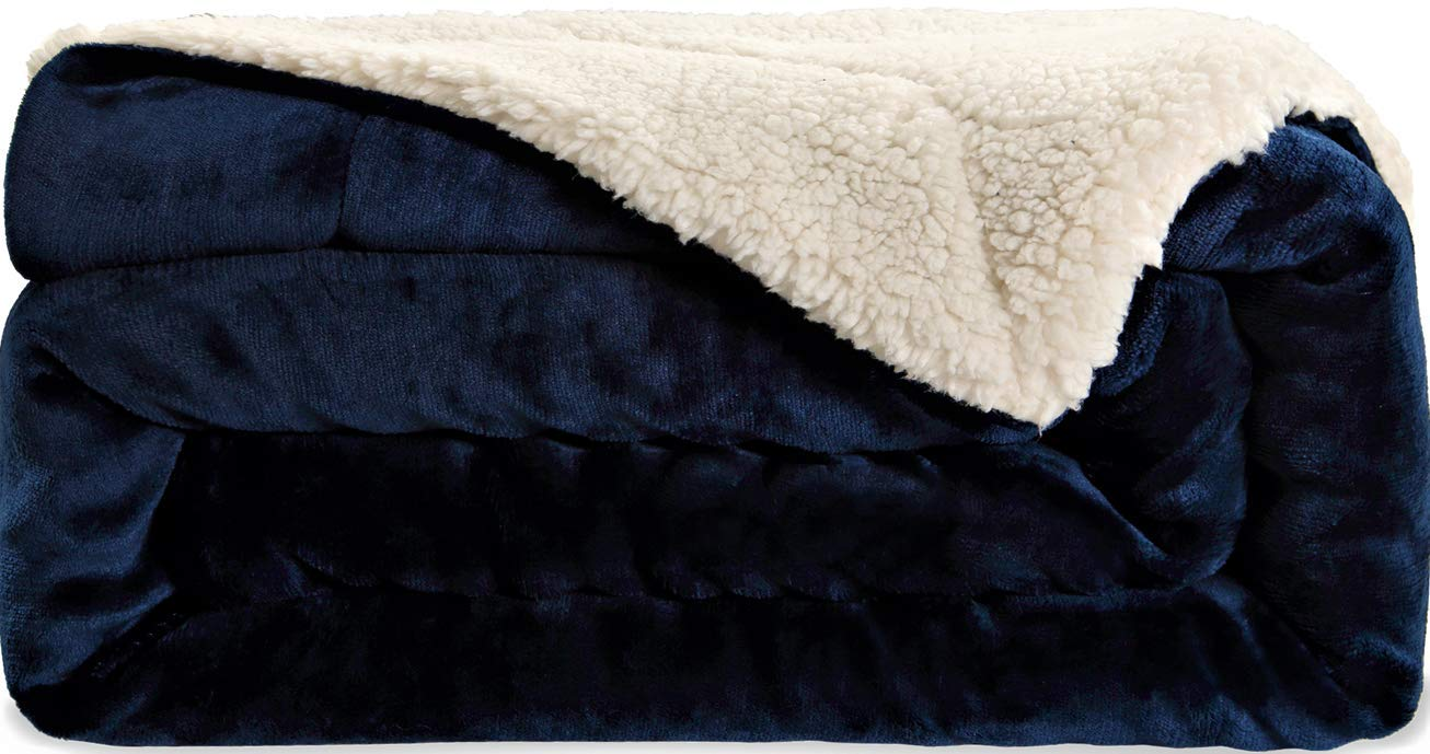 SNUZZZZ Sherpa Blanket Throw for Travel, Picnic, Camping | Thermal Comfy Minky Furry Soft Warm Fleece Thick Fuzzy for Bed Couch Sofa by SNUZZZZ