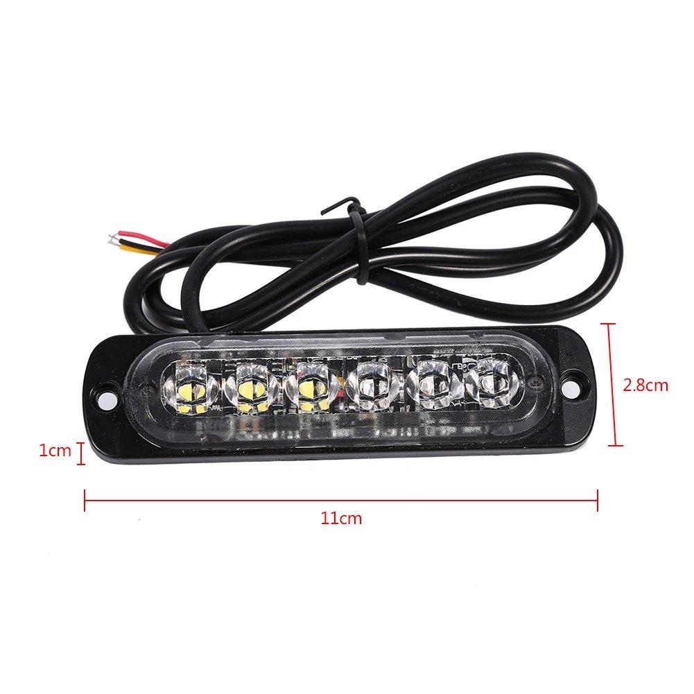 VGEBY 2pcs 12//24V 6 LED Feu Stroboscopique Lampe Feux Clignotant Pour Voitures Couleur : Amber