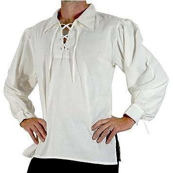travet中世コスチュームメンズレトロスタンドカラーネクタイルーズシャツ M ホワイト