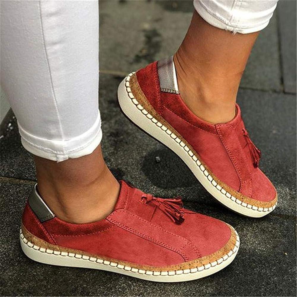 Darringls Zapatos Casuales, Zapatos de Lona Zapatillas Bordado Moda Zapatillas de Correr Borla Comodidad Calzado Plano Punta Redonda 35-43: Amazon.es: Ropa y accesorios