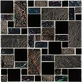 stone tile fireplace designs MTO0281 Modular Black Gray Purple Iridescent Glass Stone Mosaic Tile