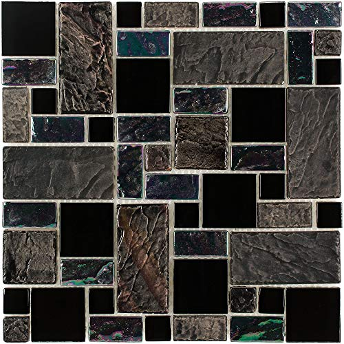 Modular Backsplash - MTO0281 Modular Black Gray Purple Iridescent Glass Stone Mosaic Tile