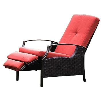 Naturefun Indoor/Outdoor Wicker Adjustable Recliner Chair, Relaxing ...