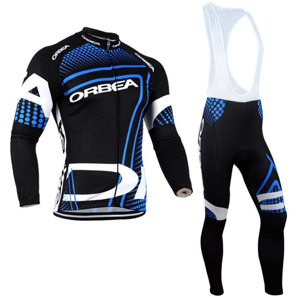 2016 Mens Pro Team Winter Long Sleeve Cycling Jersey Bike Team Racing Top + 3D Gel Padded Bib shorts Suit Set Obra Silicone Cushion Black Ausnk