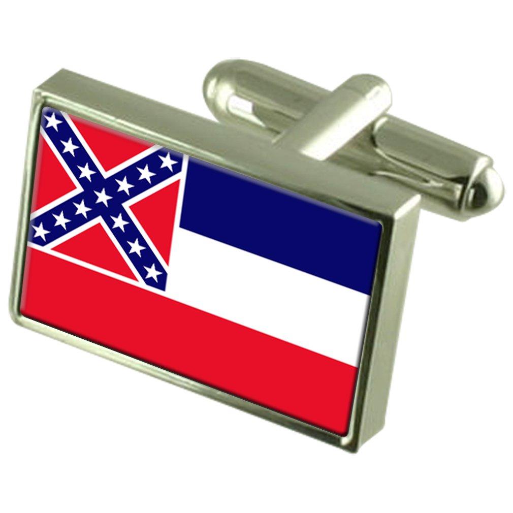 Mississippi Sterling Silver Flag Cufflinks