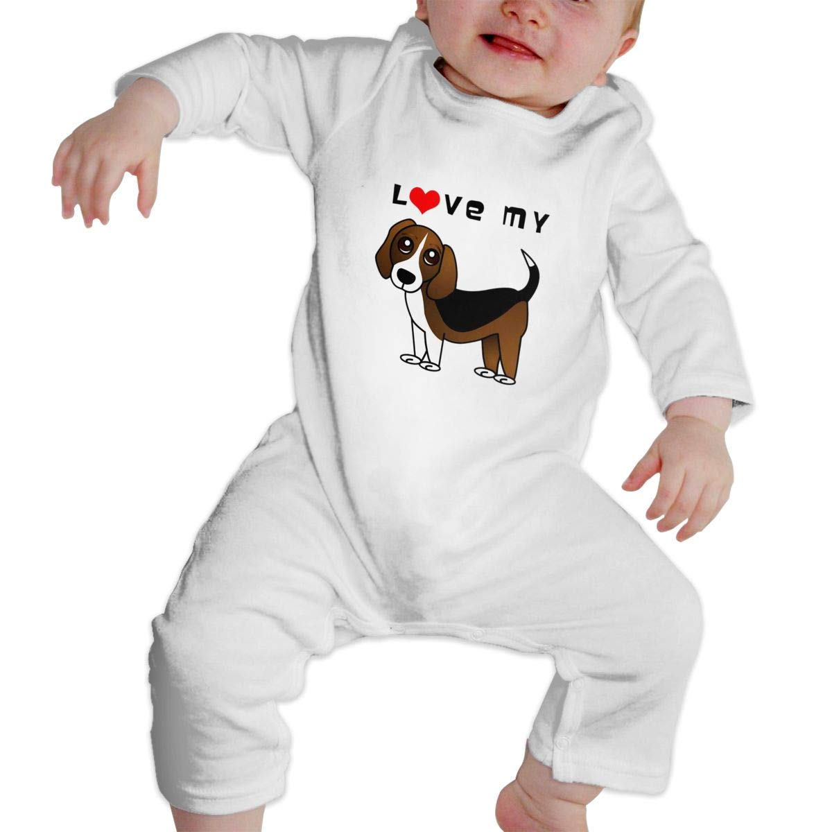 I Love My Beagle Plain Logo Newborn Baby Boy Girl Romper Jumpsuit Long Sleeve Bodysuit Overalls Outfits Clothes