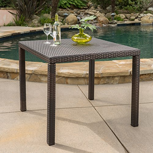 Christopher Knight Home Edene Outdoor Multibrown Wicker Square Dining Table