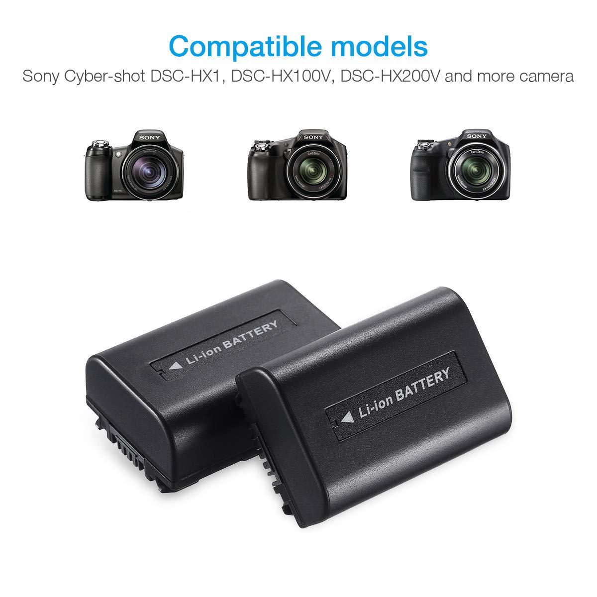 Powerextra - 2 pcs de repuesto Sony Batería NP-FH50 para Sony ...