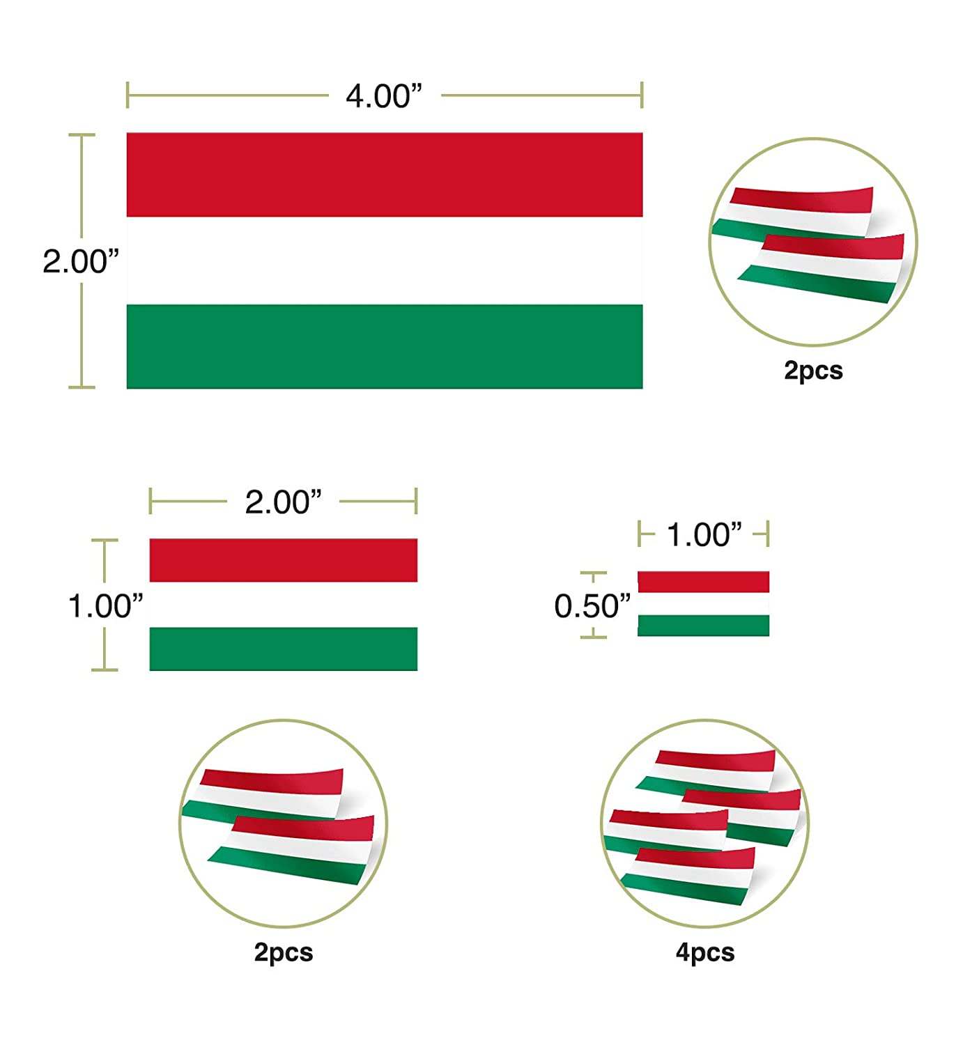 Desert Cactus Hungary Country Flag Sticker Decal Variety Size Pack 8 Total Pieces Kids Logo Scrapbook Car Vinyl Window Bumper Laptop V