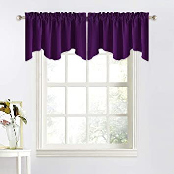 NICETOWN Window Curtain for Living Room - 52 inches by 18 inches Small  Scalloped Valance Window Curtain Panel Tier for Living Room/Bedroom/Bay  Window ...