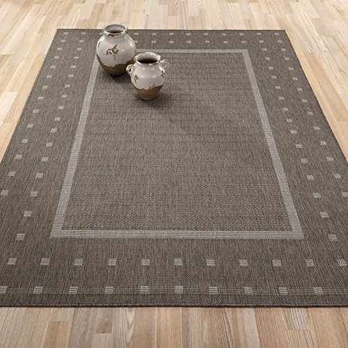 Ottomanson JRD8843-5X7 Jardin Collection Contemporary Bordered Design Indoor/Outdoor Jute Backing Area Rug, 5'3