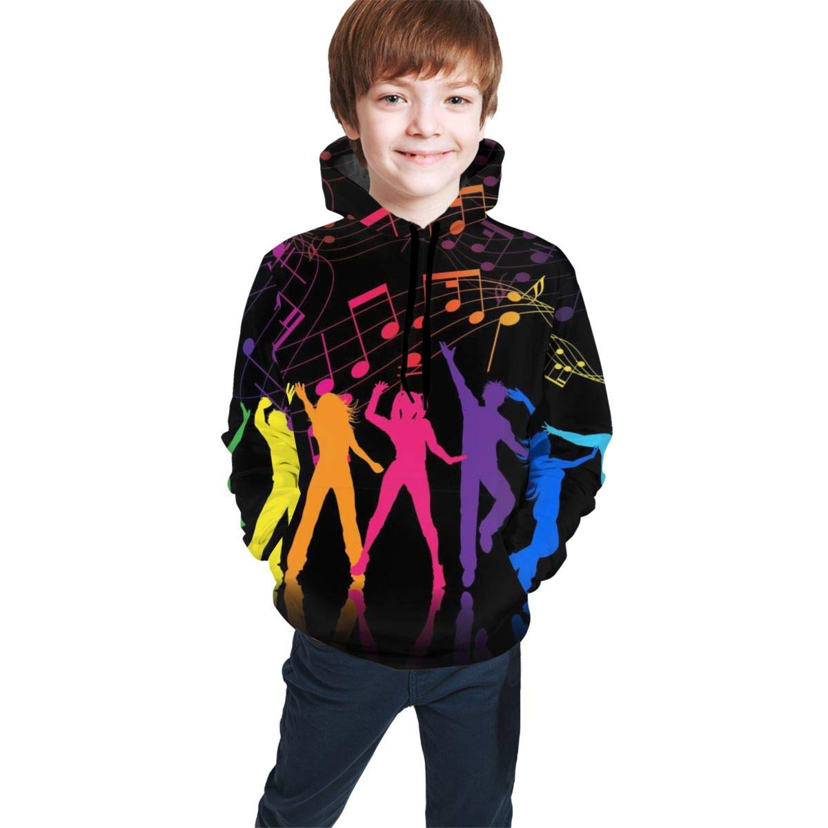 Youth Hoodie Sweatshirt Dance with Music Realistic 3D Digital Printed Pullover Tops for Boys Girls 7-20 Years