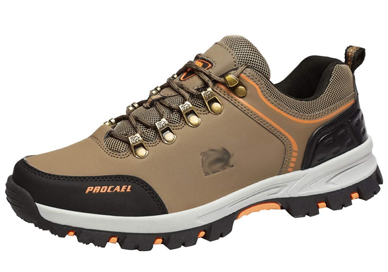 HhGold Männer Wanderschuhe Stiefel Leder Wanderschuhe Turnschuhe Für Outdoor Trekking Training Beiläufige Arbeit (Farbe   18, Größe   44EU)
