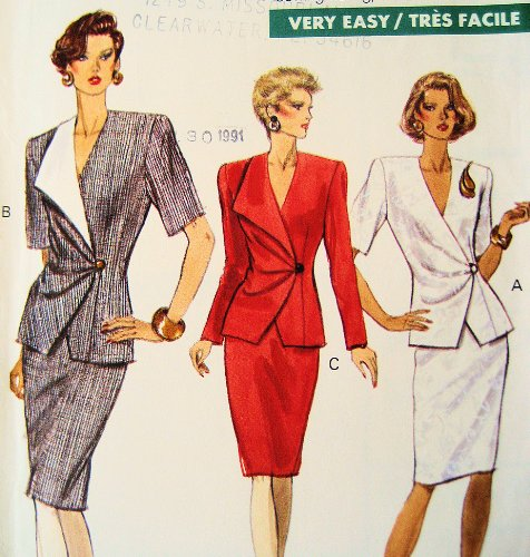 Vogue 7720 Womens Designer Suit 1990s Sewing Pattern Vintage Size 8 to ()