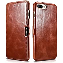 """iPhone 8 Plus/ iPhone 7 Plus Genuine Leather Case, icarercase Handmade Vintage Series Side-Open Ultra-thin Magnetic Closure Folio Flip Protective Case Cover for iPhone 8/7 Plus 5.5"""" inch (Retro Brown)"""