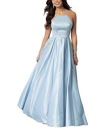 Jingliz Womens Sleeveless A Line Prom Dress Long Pleated Satin Evening Dresses Blue US2