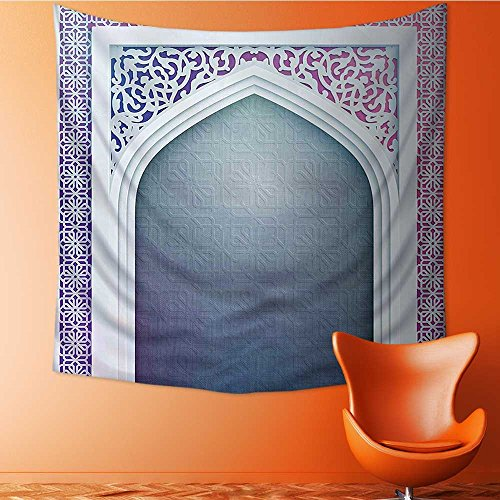 32 Door Decorative Arch - L-QN Art Decorative Ottoman Arch Door Surrounded by Featured Sacred Geometry Motif Grey Wall Hanging Bedspread multi purpose tapestries 32W x 32L Inch