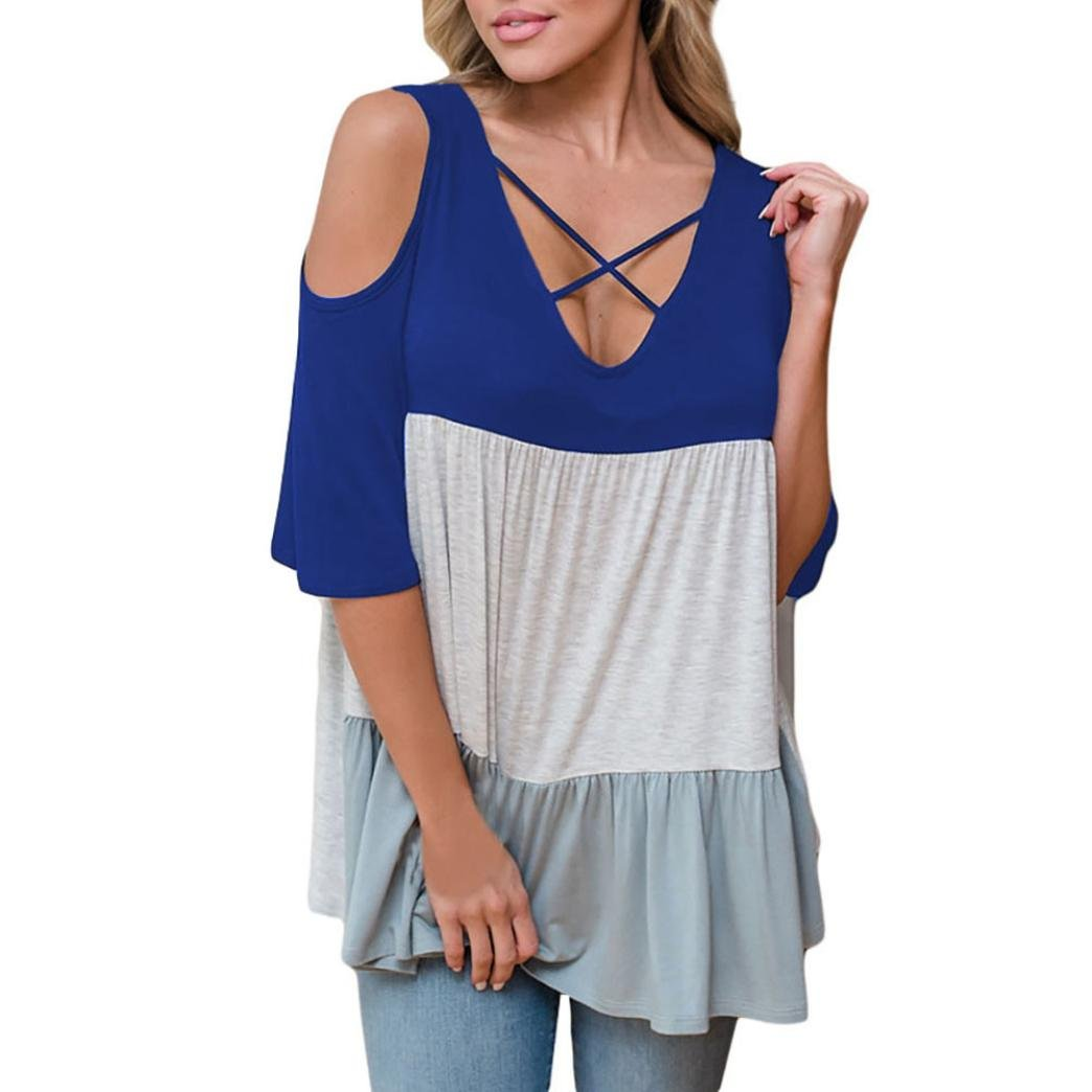 Botrong Women Half Sleeve Stitching Blouse Casual Tops Loose T-Shirt (L, Dark Blue)