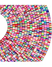 PANO 6480 PCS Flat Clay Heishi Beads for Jewelry Making, Preppy Disc Beads, Rainbow rubber beads for DIY Craft Bracelets/ Necklace/ Pendant