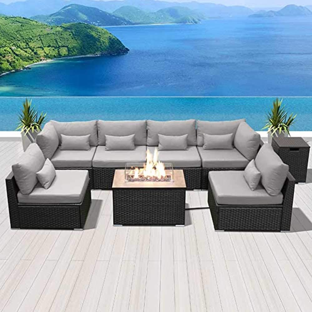BMZ Outdoor Sectional Patio Furniture Sets fire Pit Table Outdoor Furniture firepit Outdoor Sofa Set 8 Pieces Sofa Sets (Gray Rectangular Table)
