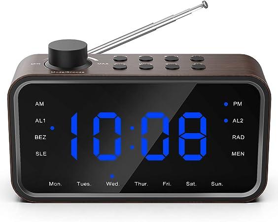 Réveil Numérique, Rockseed Radio FM Réveil Électronique avec écran LED Texture Bois de Haute qualité & luminosité réglable et Snooze, Double Alarme,