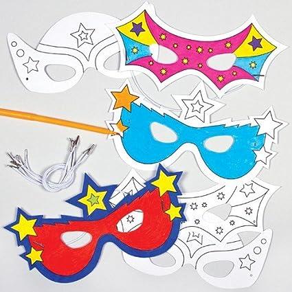 codes promo sur des pieds à meilleur choix Baker Ross Masques Super-Héros à colorier (Lot de 6) - Idéal pour le  carnaval