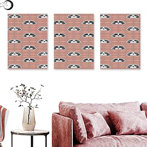 Decoration Beagle Puppies with Sunglasses Abstract Geometric Pattern Checkered Squares Triptych Photo Frame Red Grey Pale Grey Triptych Art Canvas W 24