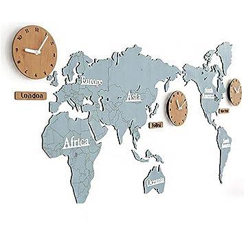 Reloj de Pared Mapa del Mundo Material de Pino Bricolaje 3D Pegatina de Pared Campana , 004: Amazon.es: Deportes y aire libre