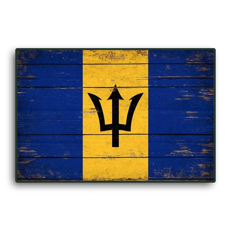 Enid18Bru Bandera de Barbados, Banderas de Madera, Banderas del Caribe rústicas, Banderas de Madera Hechas a Mano, Letrero de decoración de Pared, ...