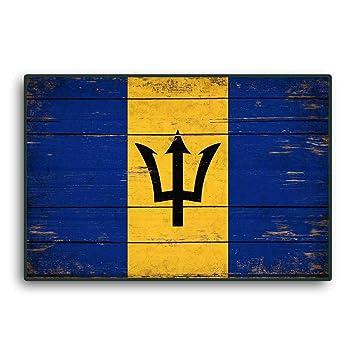 Enid18Bru Bandera de Barbados, Banderas de Madera, Banderas del Caribe rústicas, Banderas de