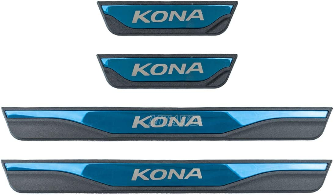 MTAWD Stainless Car Door Sill Kick Scuff Plate Protector for Hyundai Kona 2019
